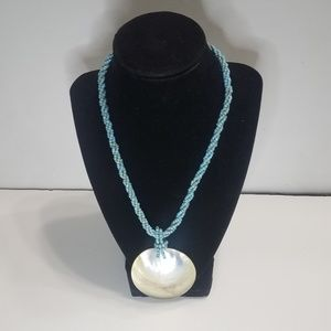 Mother of Pearl Shell Necklace Pendant Twisted See